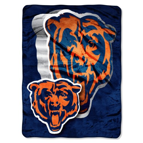 Officially Licensed NFL Chicago Bears Bevel Micro Raschel Throw Blanket, 60