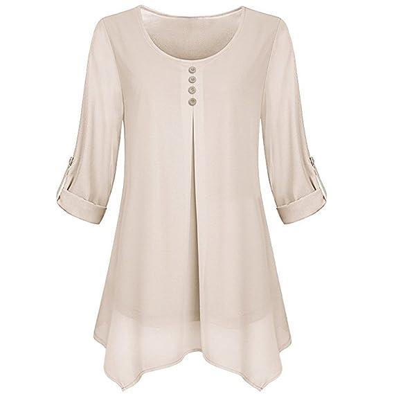Rawdah_Camisetas Mujer Tallas Grandes Camisetas Mujer Verano Tops Mujer Primavera Camisetas Mujer Largas 2018 Otoño Camisetas Mujer Manga Larga Algodon ...