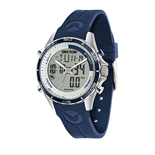 SECTOR Men's 'Master' Quartz Stainless Steel and Silicone Sport Watch, Color Blue (Model: R3271615003)
