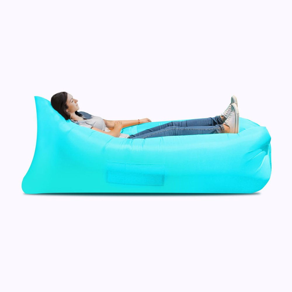 Inflatable Bed Inflatable Sofa Bed, Inflatable Bed, Portable Waterproof Leak-proof Air Cushion Sofa Bed, Camping Supplies, Hiking Air Chair ( Color : Light blue ) by JYKJ
