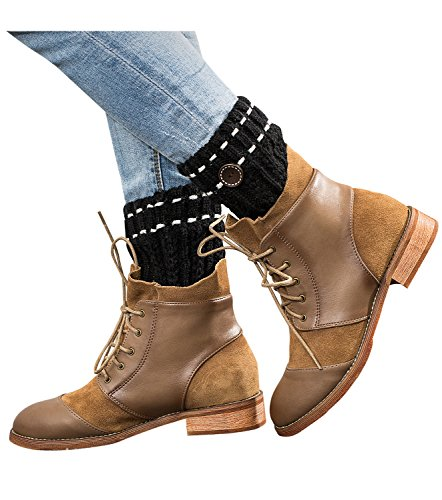 Dimore Womens Boot Cuffs Boot Topper Knitted leg Warmer Button Cuffs Crochet Thick Warm Cuff (Plus Size Boots Cheap)