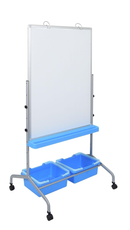 Classroom Whiteboard Chart Stand with Storage Bins