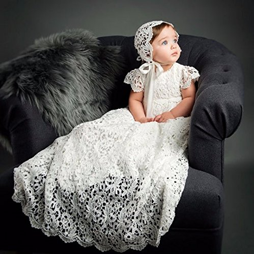 Heirloom Cotton Gown Christening (Lola Girls Lace Heirloom Christening and Baptism Gown & Bonnet)
