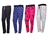 Indistar Cotton Plain and Printed Lower/Track Pants/Pyjama for Girls (Pack of 4)_Royal Blue/Magenta/Black/White_Medium_73200-10111625