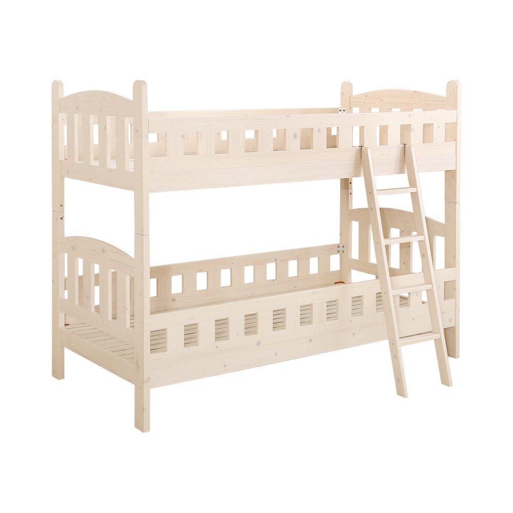 子供部屋 二段ベッド ホワイトウォッシュ(すのこ安心設計耐震機能分割可能)  ホワイトウォッシュ B01MUC75QF