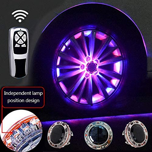 車のリム用ライト、11モード2色LEDソーラーカーホイールタイヤハブライト、RGB点滅カラフルなエクステリアライト、RFリモートコントロール、装飾警告灯(4個),Red-blue