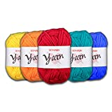 BCMRUN 20 x 25g Skeins Bonbons Yarn Assorted Colors 100% Acrylic for Crochet & Knitting Multi Pack Variety Colored Assortment (20PCS)
