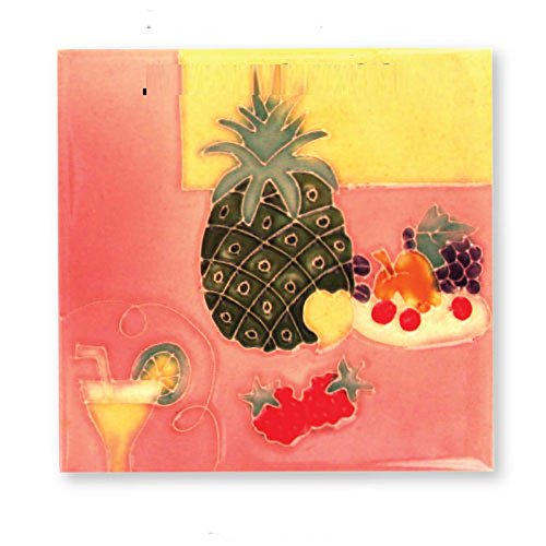 Ceramic Tile - Hand Painted Pineapple and Fruit 6