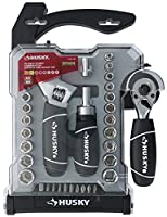 Husky H4PCSTS Stubby-Handled Combination Adjustable Wrench and Socket Tool Set with Extendable Ratchet (46 Pieces, SAE and Metric Sockets Included) (1, 46 Pieces)