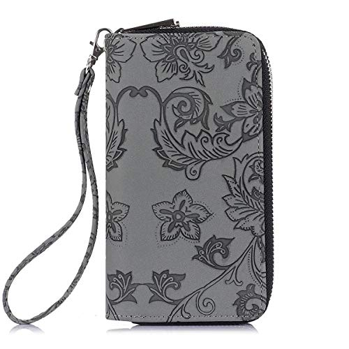 Pamidadress Latest Design Passport Clutch Fashion Dark Gray Zip Wristlet Wallet With Strap