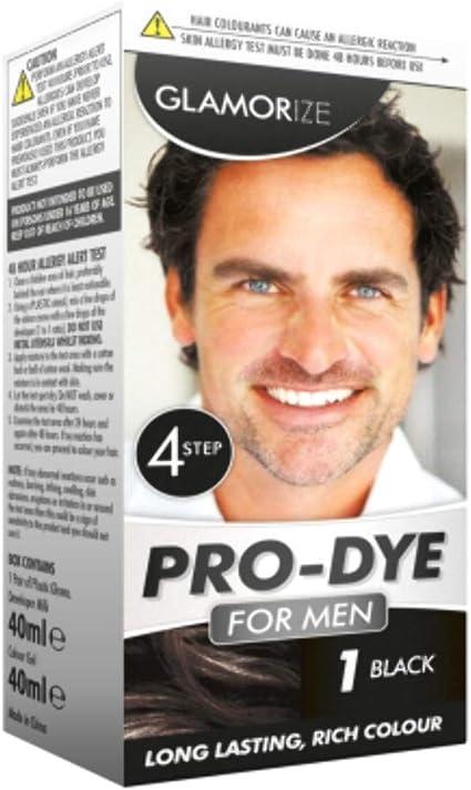 Glamorize Pro Teñido Crema Color Tinte Cabello Para Hombre Tonos 1 - Negro