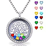 Floating Living Memory Locket Pendant Necklace Family Tree of Life Necklace All Birthstone Charms Include (Family tree locket necklace)