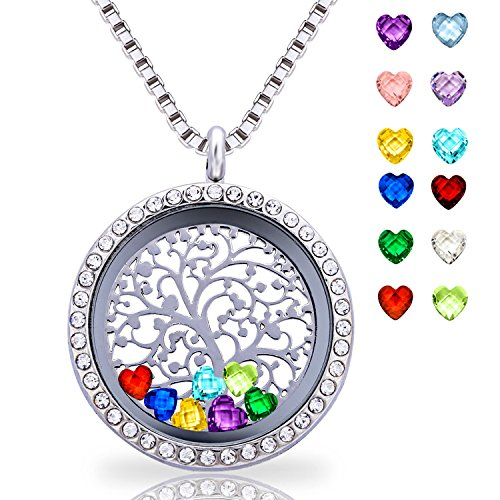 Floating Living Memory Lockets Pendant Necklace 30mm Round Toughened Glass All Birthstone Charms Include