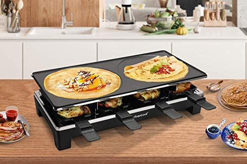 Techwood Raclette Grill Raclette Party Grill Electric BBQ Grill IndoorOutdoor Grill 1500W Removable