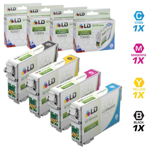 LD Remanufactured Epson 69 / T069 Set of 4 Ink Cartridges (Black, Cyan, Magenta, Yellow) for use in Stylus CX5000, CX7400, CX8400, NX105, NX300, NX400 & WorkForce 1100, 1300, 310, 315, 500, 600 (Epson 69 Ink Cyan)