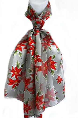 Silk Feel Scarf- Christmas Red Poinsettia Clusters on Silver