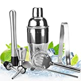Stainless Steel Cocktail Shaker Bar Set with 18 Ounce Martini...