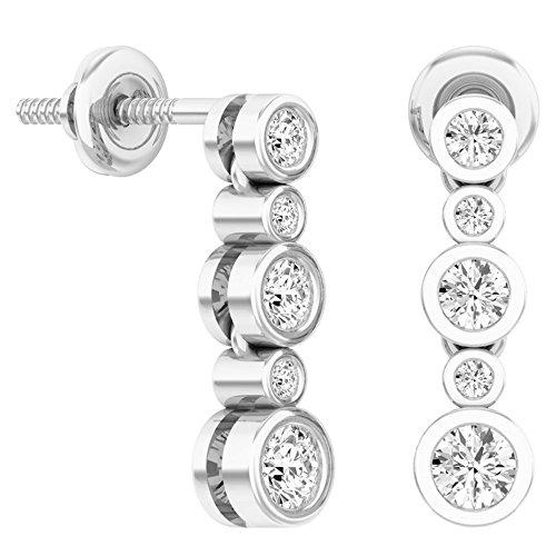 Dazzlingrock Collection 0.50 Carat (ctw) 14K Round White Diamond Ladies Bubble Drop Earrings 1/2 CT, White - Diamond 14k Bubbles