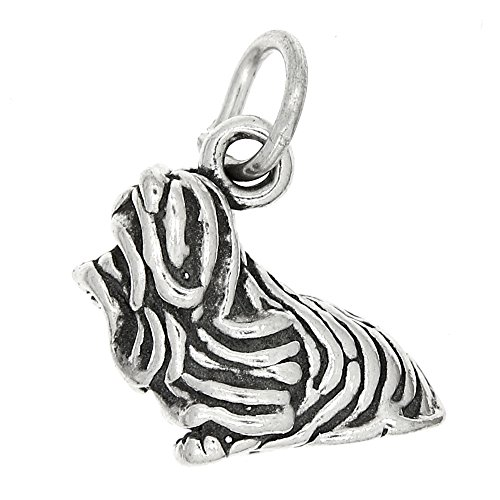 Sterling Silver Oxidized Three Dimensional Yorkshire Terrier Dog - Yorkshire Dog Charm