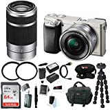 Sony Alpha a6000 Mirrorless Camera w/16-50mm & 55-210mm Lens Bundle (Silver)