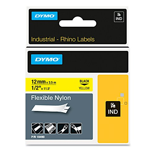 DYMO 18490 Rhino Flexible Nylon Industrial Label Tape, 1/2