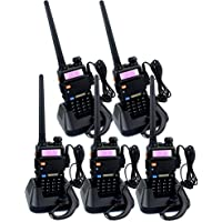 Retevis RT-5R 2 Way Radio 5W 128CH VHF/UHF 136-174/400-520 MHz Dual Band Dual Standby VOX FM Ham Amateur Radio Walkie Talkie with Earpiece (5 Pack)