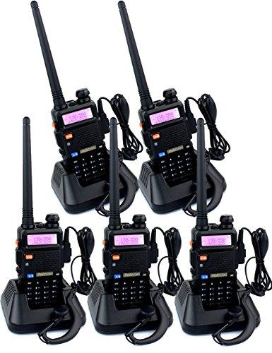 Retevis RT-5R 2 Way Radio 5W 128CH VHF/UHF 136-174/400-520 MHz VOX FM Ham Amateur Radio (5 Pack)