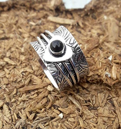 Mother Gift Ring All Size Spinner Ring Thumb Ring Meditation Ring,Statement Ring 925 Sterling Silver /& Band Ring Black Onyx   Handmade