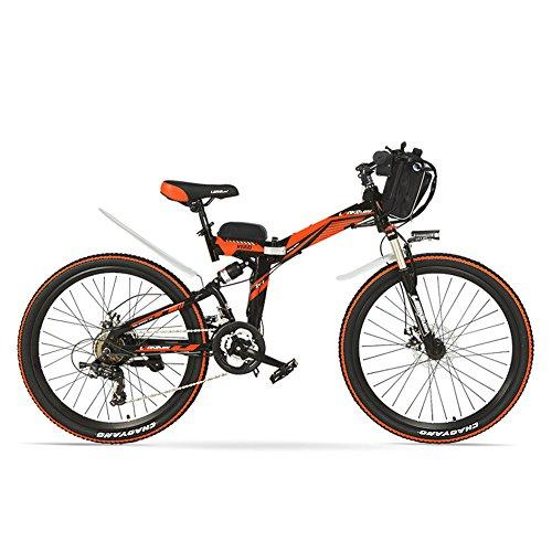 LANG TU 26'' Folding Electric Mountain Bike, 48V 12AH Li-on Battery, 500/240W...