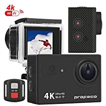 Prefeco Eagle 4 Action Camera 4K WiFi Ultra HD Waterproof Sports Camera 16MP 170 Degree Wide Angle 2 inch LCD Screen/2.4G Remote Control 2 Rechargeable 1050mAh Batteries Free Travel Bag