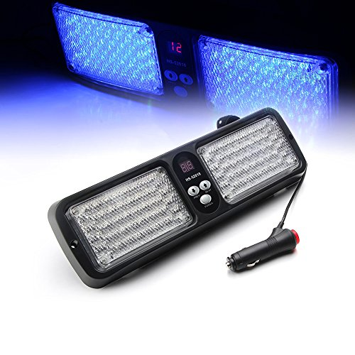Xprite Blue 86 LED Windshield SunShield High Intensity LED Law Enforcement Emergency Hazard Warning Strobe Lights