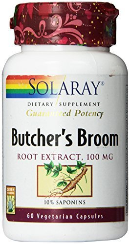 (Solaray Butchers Broom Extract, 100mg, 60 Count by Solaray)