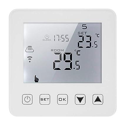 Decdeal 3A Termostato de Calefacción Eléctrica Programable,Control de Voz Pantalla Táctil LCD con Controlador