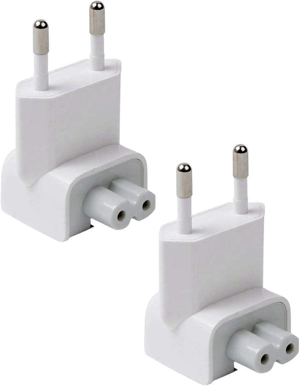 REYAER AC Adapter Europe Plug, Converter Travel Charger Adapter for Mac Book Mac/Book/Phone/Pod AC Power Adapter (2 -Pack)
