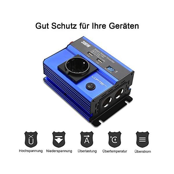 51lA6uBy0XL LOFTer 300W Auto Wechselrichter LED Anzeige KFZ Spannungswandler DC 12V auf AC 230V Power Inverter mit 2 USB Anschlüsse…