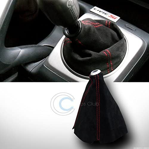 Velocity Concepts Universal Red Stitch Black Suede Shifter Shift Gear Boot Cover Manual//Auto JDM