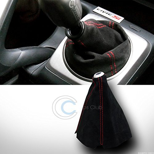 HS Power Universal Red Stitch Black Suede Shifter Shift Gear Boot Cover Manual/Auto JDM
