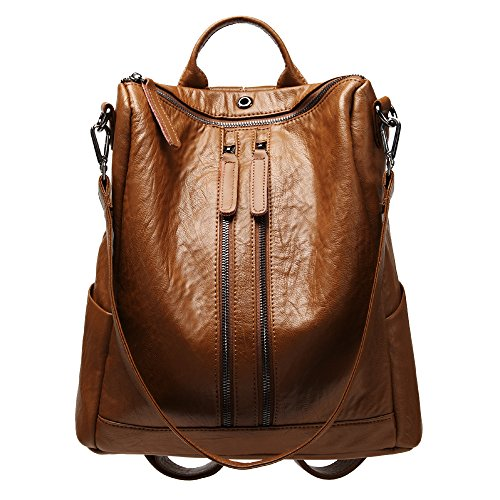 (Leather Backpack for women Weitine Brand Brown Color Shoulder Bag for lady 12.5' inches Laptop)