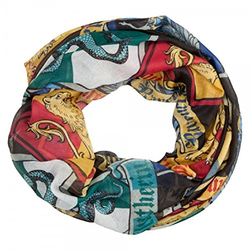 BioWorld Women's Harry Potter Crests Infinity Loop Scarf, (Licensed Harry Potter Scarf)