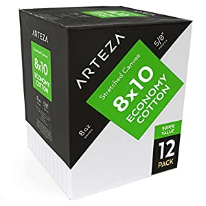 Arteza 8x10 Stretched Canvas, 100%-Cotton (Pack of 12)