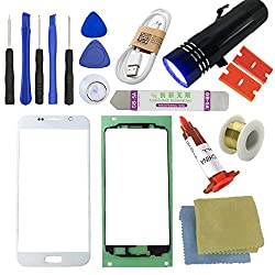 For Samsung Galaxy S6 Screen Replacement---[direct Screen], Sunmall Front Outer Lens Glass Screen Replacement Repair Kit Lcd Glass Repair Kit For Samsung Galaxy S6 G920 G920a G920p G920t G920v (White)