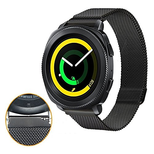 Samsung Gear Sport Watch Band , 20mm Stainless Steel Band + Milanese Loop Mesh Stainless Steel Metal Business Replacement Bracelet Strap for Samsung Gear Sport Smart Watch (2 black.) Photo #5
