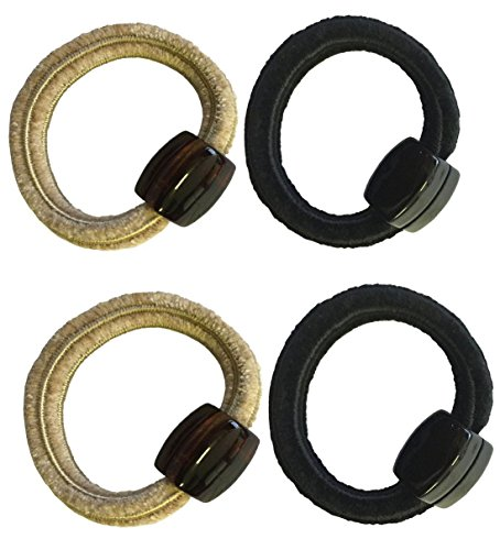 (Parcelona French Pretties Beige Shell Black Chenille Ponytail Holder Hair Bands Elastics Tie 4 Pcs)