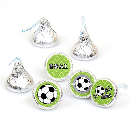 Goaaal - Soccer - Baby Shower or Birthday Party Round Candy Sticker Favors - Labels Fit Hershey's Kisses (1 Sheet of 108) ()