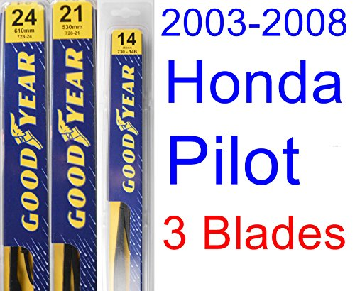 2003-2008 Honda Pilot Replacement Wiper Blade Set/Kit (Set of 3 Blades) (Goodyear Wiper Blades-Premium) (2004,2005,2006,2007)