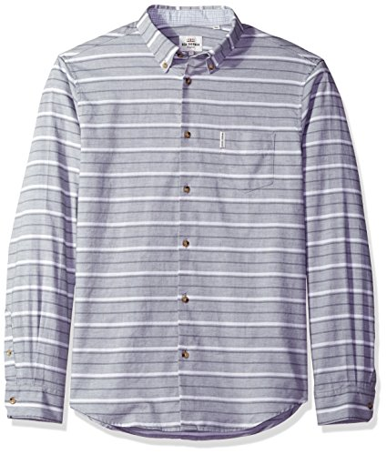 ben-sherman-mens-long-sleeve-tipp-hortz-stripe-woven-light-ash-marl-large