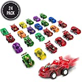 FAVONIR Pull Back Friction cars, 24 Mini Assorted Race Car Vehicle Playset for Toddlers & Kids Party Favor Giveaway Ideal Birthday Party, Bulk School Reward Prizes, Décor, carnival And Events