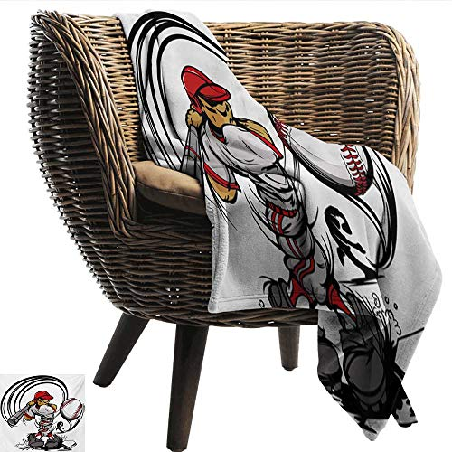 Teen Room Warm Blanket Baseball Cartoon Style Player Hitting The Ball Boys Kids Caricature Print All Season Light Weight Living Room 70