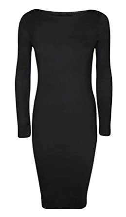 71bdb06ad4a9 Womens Ladies Night Party Wear Plus Size Plain Long Sleeve Bodycon Fancy  Midi Dress Black Small