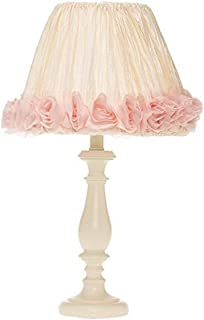 "product image for Glenna Jean Victoria Cream Lamp Base, Crinkle/Roses Shade, 12"" x 12"" x 24"""